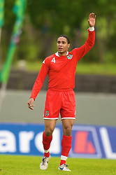 REYKJAVIK, ICELAND - Wednesday, May 28, 2008: Wales' Ashley Williams in action against Iceland during the international friendly match at the Laugardalsvollur Stadium. (Photo by David Rawcliffe/Propaganda)