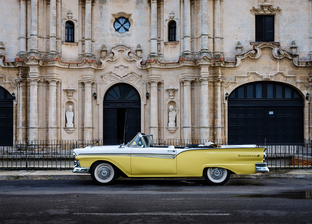 HAVANA, CUBA - CIRCA MAY 2017:  Classic Ford Fairline car parked in the streets of Havana.