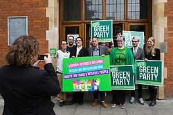 April 28, 2017 - London, London, UK - LONDON, UK. JONATHAN BARTLEY, Green Party co-leader, AIMEE CHALLENOR, Green Party LGBTIQA+ spokesperson, SIAN BERRY and supporters at the Green Party LGBTIQA+ manifesto launch, at Trinity United Reform Church in London. Jonathan Bartley and Aimee Challenor today set out set out the Green Party LGBTIQA+ manifesto pledges, including commitment to provide the HIV prevention drug PrEP on the NHS. (Credit Image: © Vickie Flores/London News Pictures via ZUMA Wire)