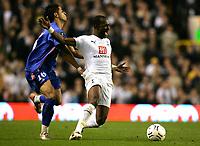 Photo: Tom Dulat.<br /> Tottenham Hotspur v Getafe. UEFA Cup. 25/10/2007.<br /> Juan Albin of Getafe and Didier Zokora of Tottenham Hotspur fight for the ball.