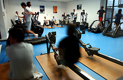 PARIS, FRANCE - APRIL-21-2004 - Exercise - sport - physical fitness - training  - workout - running - weight lifting - gym - health club - aerobics - men - women - male - female(PHOTO © JOCK FISTICK)