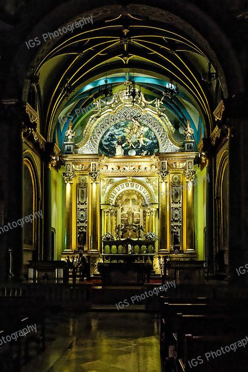 Interior of Roman Catholic Church and Convent of Santo Domingo, Lima, Peru at night