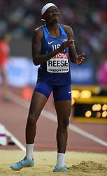 August 11, 2017 - London, England, United Kingdom - Gold medal winner Brittney Reese of USA jumps in the long jump final in London at the 2017 IAAF World Championships athletics at the London Stadium in London on August 11, 2017. (Credit Image: © Ulrik Pedersen/NurPhoto via ZUMA Press)