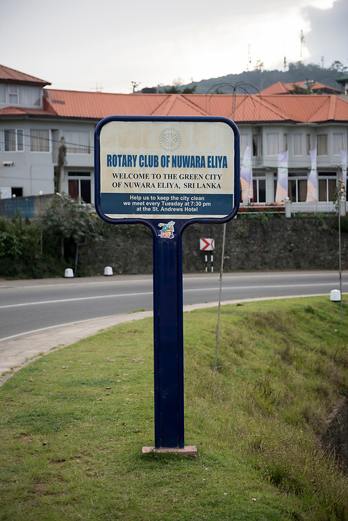 A sign sponsored by the Rotary Club welcomes people to Nuwara Eliya, Sri Lanka. Nuwara Eliya, a popular tourist destination, is located in the tea country hills of central Sri Lanka.
