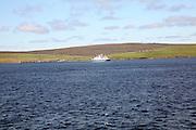 Yell Ferry approaching Toft on Mainland, Shetland Islands, Scotland