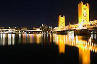 Old town Sacramento at night.