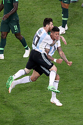 Argentina's Marcos Rojo (right) celebrates scoring his side's second goal of the game with team-mate Argentina's Lionel Messi (left) during the FIFA World Cup Group D match at Saint Petersburg Stadium.