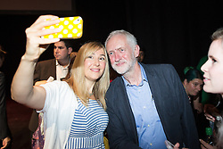 © Licensed to London News Pictures . 23/07/2016 . Salford , UK . Supporters pose for selfies with Jeremy Corbyn after he launches his campaign to be re-elected Labour Party leader , at the Lowry Theatre at Salford Quays . Photo credit : Joel Goodman/LNP