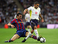 Tottenham Hotspur FC vs FC Barcelona Wembley Cup 24/07/09<br /> Photo Nicky Hayes/Fotosports International<br /> Aaron Lennon evades the tackle from Eduard Oriol.