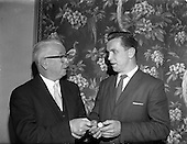 1961 - Footballer Dan McCaffrey (Drumcondra) receives the Soccer Personality of the Year award