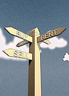 """Sign Post Shaped Like A House At Top. Directions On It To """"BUY"""" """"RENT"""" """"LET"""" """"SELL & """"SWAP""""."""