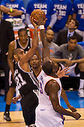 June 2, 2012; Oklahoma City, OK, USA; Oklahoma City Thunder forward Kevin Durant (35) attempts to block a shot taken by San Antonio Spurs forward Tim Duncan (21) during a playoff game  at Chesapeake Energy Arena.  Thunder defeated the Spurs 109-103 Mandatory Credit: Beth Hall-US PRESSWIRE