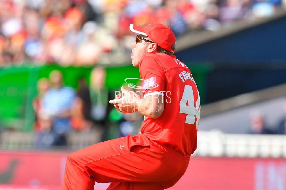 Wicket - James Faulkner of Lancashire catches Moeen Ali of Worcestershire off the bowling of Zahir Khan of Lancashire during the Vitality T20 Finals Day Semi Final 2018 match between Worcestershire Rapids and Lancashire Lightning at Edgbaston, Birmingham, United Kingdom on 15 September 2018.