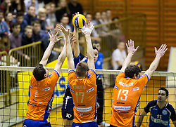 Andrej Flajs of ACH, Mario Koncilja of ACH and Eric Mochalski of ACH vs Darijo Savicic of Salonit during volleyball match between ACH Volley   and Salonit Anhovo in Final of Slovenian Cup 2014/15, on January 17, 2015 in Sempeter, Slovenia. Photo by Vid Ponikvar / Sportida