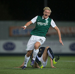 Hibernian's Jason Cummings tackled. Falkirk 0 v 1 Hibernian, Scottish Championship game played 20/10/2015 at The Falkirk Stadium.