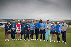 The winning teams line up following the medal presentation, L to R Great Britain 3 (Silver medal) Iceland (Gold Medal) and Sweden 2 (Bronze Medal) during day ten of the 2018 European Championships at Gleneagles PGA Centenary Course