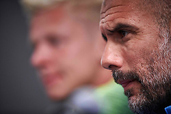"July 19, 2018 - Chicago, IL, U.S. - CHICAGO, IL - JULY 19: Manchester City head coach Josep ""Pep"" Guardiola answers questions from the media during Manchester City's press conference on July 19, 2018 held at Soldier Field in Chicago, Illinois. (Photo by Robin Alam/Icon Sportswire) (Credit Image: © Robin Alam/Icon SMI via ZUMA Press)"