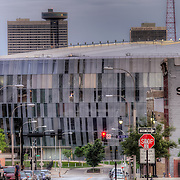 Sprint Center down the street while standing near 10th and McGee, downtown Kansas City Missouri.