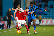 Fleetwood Town forward Wes Burns (7) and Gillingham FC forward Brandon Hanlan (7) during the EFL Sky Bet League 1 match between Gillingham and Fleetwood Town at the MEMS Priestfield Stadium, Gillingham, England on 3 November 2018.<br /> Photo Martin Cole