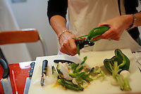 """Lenotre Ecole Culinaire, Paris,..short course - """"Return to the Market"""" with Chef Jacky Legras..slicing peppers...photo by Owen Franken for the NY Times..July 12, 2007......."""