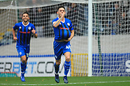GOAL Ian Henderson celebrates scoring his 100th goal for Rochdale 2-0 during the The FA Cup 1st round match between Rochdale and Gateshead at Spotland, Rochdale, England on 10 November 2018.