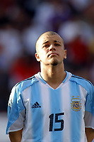 Fotball<br /> Privatlandskamp<br /> Argentina v Colombia 0-2<br /> Miami stadium<br /> 27. juni 2004<br /> Foto: Digitalsport<br /> NORWAY ONLY<br />  ANDRES D'ALESSANDRO  (ARGENTINA)