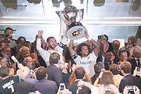 Real Madrid's Sergio Ramos and Marcelo receive La Liga 2016-2017 Cup before La Liga match between Real Madrid and Valencia CF at Santiago Bernabeu Stadium in Madrid, Spain August 27, 2017. (ALTERPHOTOS/Borja B.Hojas)
