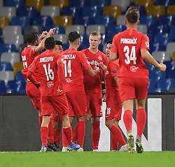 NAPLES, Nov. 6, 2019  Salzsburg's Erling Braut Halland celebrates his goal with his teammates during the UEFA Champions League Group E match between Napoli  and Salzsburg in Naples, Italy, Nov. 5, 2019. (Photo by Alberto Lingria/Xinhua) (Credit Image: © Cheng Tingting/Xinhua via ZUMA Wire)