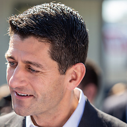 Rheems, PA - October 6, 2016: US House Speaker Paul Ryan greets supporters at a campaign stop for Lloyd Smucker, Republican candidate for US Representative.