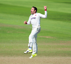 Roelof van der Merwe of Somerset celebrates the wicket of Mark Wood.  - Mandatory by-line: Alex Davidson/JMP - 06/08/2016 - CRICKET - The Cooper Associates County Ground - Taunton, United Kingdom - Somerset v Durham - County Championship - Day 3