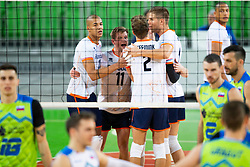 30-12-2019 SLO: Slovenia - Netherlands, Ljubljana<br /> Nimir AbdelAziz, Jelte Maan, Wessel Keemink of the Netherlands during friendly volleyball match between National Men teams of Slovenia and Netherlands