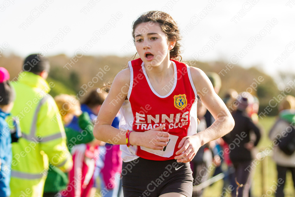 Elise Mulcaire (Ennis Track) gets a stitch while competing in the U15 girls 3500m