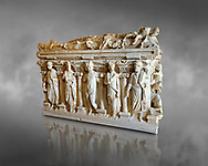 Sidamara Sarcophagus, a 2nd century marble Roman sarcophagus from Turkey. Istanbul Archaeology Museum.