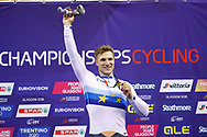 Podium, Men Sprint, Jeffrey Hoogland (Netherlands) gold medal, during the Track Cycling European Championships Glasgow 2018, at Sir Chris Hoy Velodrome, in Glasgow, Great Britain, Day 5, on August 6, 2018 - Photo luca Bettini / BettiniPhoto / ProSportsImages / DPPI<br /> - Restriction / Netherlands out, Belgium out, Spain out, Italy out -