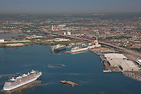 Aerial Image of cruise ship carnival pride approaching Baltimore terminals