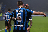 Stefan de Vrij of Inter celebrates with team mate Ashley Young after scoring to give the side a 3-2 lead during the Serie A match at Giuseppe Meazza, Milan. Picture date: 9th February 2020. Picture credit should read: Jonathan Moscrop/Sportimage