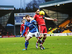 St Johnstone's Craig Thomson and Aberdeen's Graeme Shinnie. <br /> St Johnstone 3 v 4Aberdeen, SPFL Ladbrokes Premiership played 6/2/2016 at McDiarmid Park, Perth.