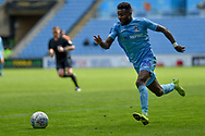 Coventry City forward (on loan from Wolverhampton Wanderers) Bright Enobakhare (24) sprints forward with the ball during the EFL Sky Bet League 1 match between Coventry City and Shrewsbury Town at the Ricoh Arena, Coventry, England on 28 April 2019.