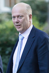 Downing Street, London, October 11th 2016. Government ministers arrive for the first post-conference cabinet meeting. PICTURED: Transport Secretary Chris Grayling