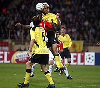 Fotball<br /> Champions League 2004/05<br /> Monaco v Liverpool<br /> 23. november 2004<br /> Foto: Digitalsport<br /> NORWAY ONLY<br /> SAMI HYYPIA (LIV) / SHABANI NONDA (MON)