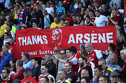 Fans thank Arsenal manager Arsene Wenger ahead of his last match in charge - Mandatory by-line: Jack Phillips/JMP - 13/05/2018 - FOOTBALL - The John Smith's Stadium - Huddersfield, England - Huddersfield Town v Arsenal - English Premier League