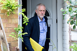 © Licensed to London News Pictures. 11/07/2016. London, UK. Leader of the Labour Party JEREMY CORBYN leaves home on the morning Angela Eagle MP launches her bid for leadership of the Party. Labour MPs are divided over their support for current leader Corbyn. Photo credit : Tom Nicholson/LNP