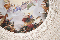 A view of the ceiling fresco on the Capitol dome (Apotheosis of Washington by Greek-Italian artist Constantino Brumidi) in Washington DC in the United States. From a series of travel photos in the United States. Photo date: Friday, March 30, 2018. Photo credit should read: Richard Gray/EMPICS