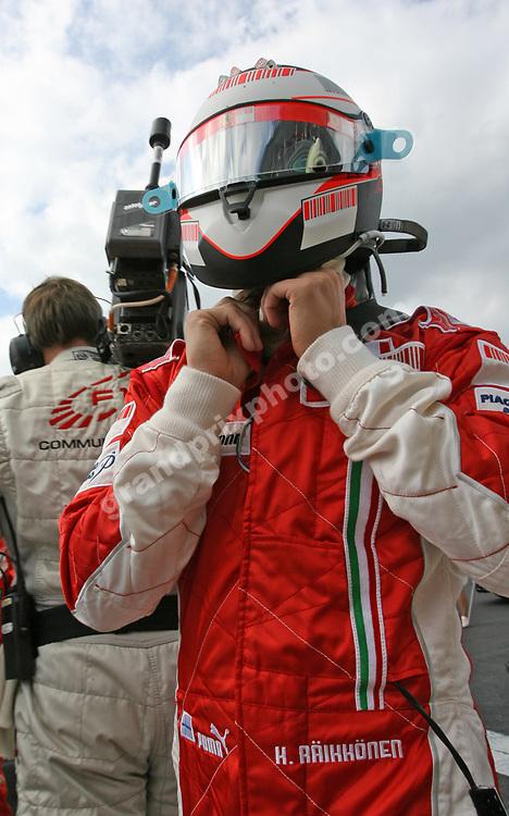 Kimi Raikkonen (Ferrari) prepares for the 2007 Belgian Grand Prix in Spa-Francorchams. Photo: Grand Prix Photo