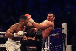 29 April 2017 - Boxing - Anthony Joshua v Wladimir Klitschko (IBF and WBA heavyweight) - Joshua hits Klitschko with a right hand sending him to the canvas - Photo: Marc Atkins / Offside.