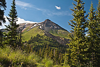 A scenic view of 13,114 ft. Telluride Peak as seen on  Red Mountain Pass,  San Juan Mountains,Colorado.