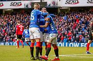 Goal! Alfredo Morelos celebrates scoring Rangers Equaliser during the Ladbrokes Scottish Premiership match between Rangers and Kilmarnock at Ibrox, Glasgow, Scotland on 16 March 2019.