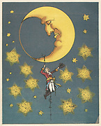 Munchausen, recovering his silver casket which had bounced up to the moon. He grew a turkey bean and climbed up to the moon. From RE Raspe  'The Travels and Surprising Adventures of  Baron Munchausen', first published 1785. Chromolithograph from a French edition c1850