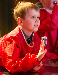 City Arts Centre, Edinburgh, Scotland, United Kingdom, 9 April 2019. Edinburgh Science Festival:  Alex age 6 years, has fun learning about blood at the Blood Bar drop in event at the Science Festival. <br /> <br /> Sally Anderson | EdinburghElitemedia.co.uk