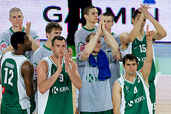 Disappointed players of Krka after the second semi-final match of Basketball NLB League at Final four tournament between KK Union Olimpija and Krka (SLO), on April 19, 2011 in Arena Stozice, Ljubljana, Slovenia. Union Olimpija defeated Krka 67-57. (Photo By Vid Ponikvar / Sportida.com)
